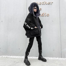 Load image into Gallery viewer, Patchwork Pockets Letter Zipper Parka Women 2020 Winter Casual Fashion Style Temperament All Match Women Clothes