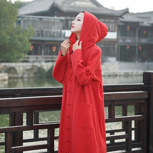 Vintage Witch Cotton Linen Autumn Winter Robe Long Cardigan Coats