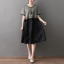 Load image into Gallery viewer, Loose Round Neck Short Sleeve Splicing Dress