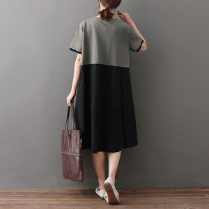 Loose Round Neck Short Sleeve Splicing Dress