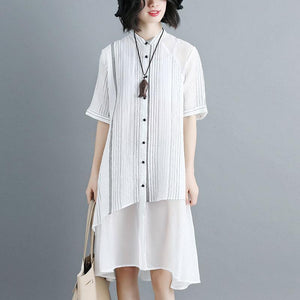 Women Stand Collar Single Breasted Stripe White Dress