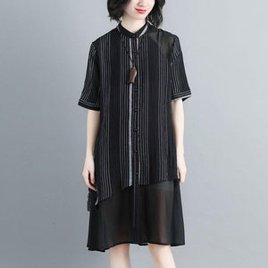 Women Stand Collar Single Breasted Stripe Black Dress