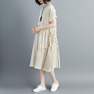 Women Short Sleeve Stripe Beige Drawstring Dress
