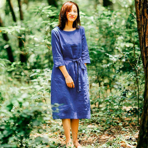 Loose Casual Women Round Neck Three Quarter Sleeve Blue Dress