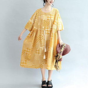 Round Neck Printing Lacing Summer Women Yellow Dress