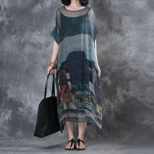 Printing Summer Short Sleeves Round Neck Loose Dress