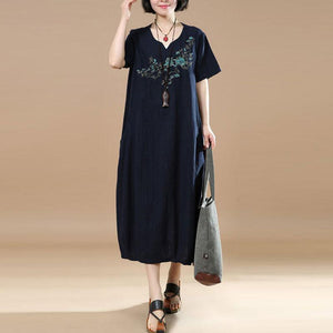 Embroidered Short Sleeve Women Summer Dress