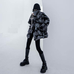 Winter New Print Parka Women Stand Collar Loose Fashion Keep Warm Short Parka Coat Simplicity Street Trendy