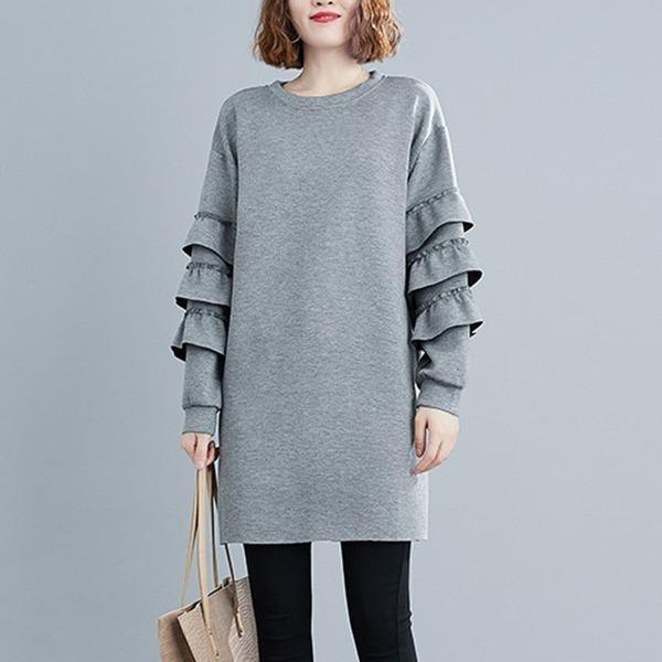 Women Loose Casual Dress New Arrival 2020 Autumn Simple Style O-neck Solid Solid Color Dresses