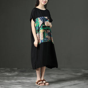 Black Printing Loose O-Neck Casual Dress