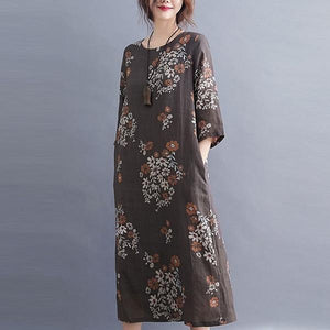 Vintage Floral Print Loose Comfortable Female Casual Dresses
