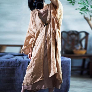 Solid Color Long Trench Coats New Causal Loose Patchwork Long Sleeve Cardigan Coats