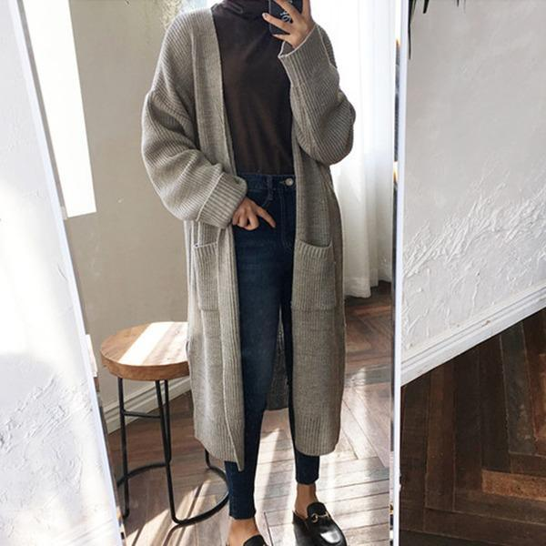 2020 Fashion Harajuku Loose Knit Sweater Women Casual Black Oversized Jacket Coat Autumn