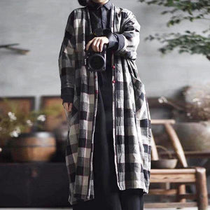Women Cotton Linen Trench Vintage Coats Pockets Plaid Long Sleeve Casual Women Cloths V-neck Trench