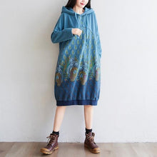 Load image into Gallery viewer, Women Printed Hooded Dress Autumn Retro Casual Print Loose Dress