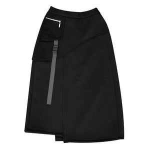 Winter The New Asymmetrical Elastic Waist Black Skirt Loose Casual Fashion All-match