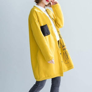 Autumn Winter Women Casual Long Jackets Print Loose Ladies Thick Warm Cotton Coats