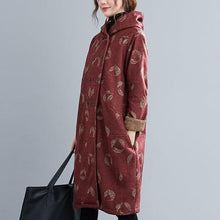 Load image into Gallery viewer, plus size wool vintage floral hooded casual loose long autumn winter coat for women jacket