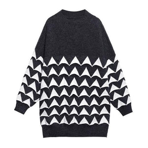 Print Pattern Knitted Pullover Sweater Women 2020 Winter Casual Fashion  Sweater