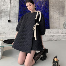 Load image into Gallery viewer, Patchwork Bow Solid Dress Women 2020 Temperament All Match Puff Sleeve Women Clothes