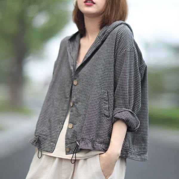 Women Retro Plaid Hooded Drawstring Single Breasted Coats