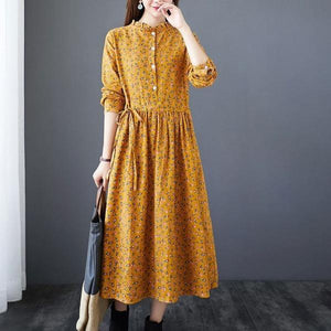 Arts Style Stand Collar Elegant A-line Female Cotton Linen Dresses