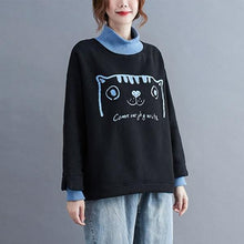 Load image into Gallery viewer, Style Cartoon Print Turtleneck Loose Female Pullovers Hoodies