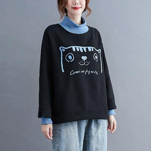 Style Cartoon Print Turtleneck Loose Female Pullovers Hoodies