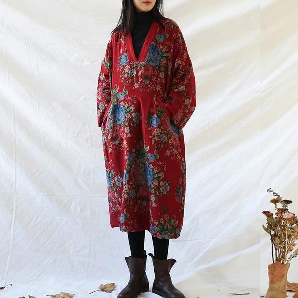 Women Vintage Red Print Floral Parkas V-Neck Long Sleeve  Warm Parkas