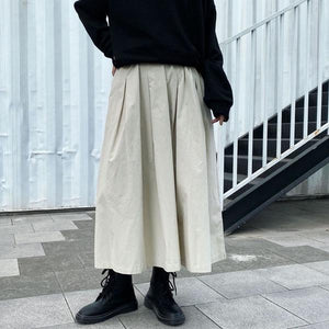 Elastic Waist Solid Color Small Fresh Casual Style 2021 Winter Elegant Skirt