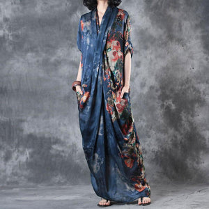 Printing Women Summer Loose Casual Irregular Floral Blue Dress