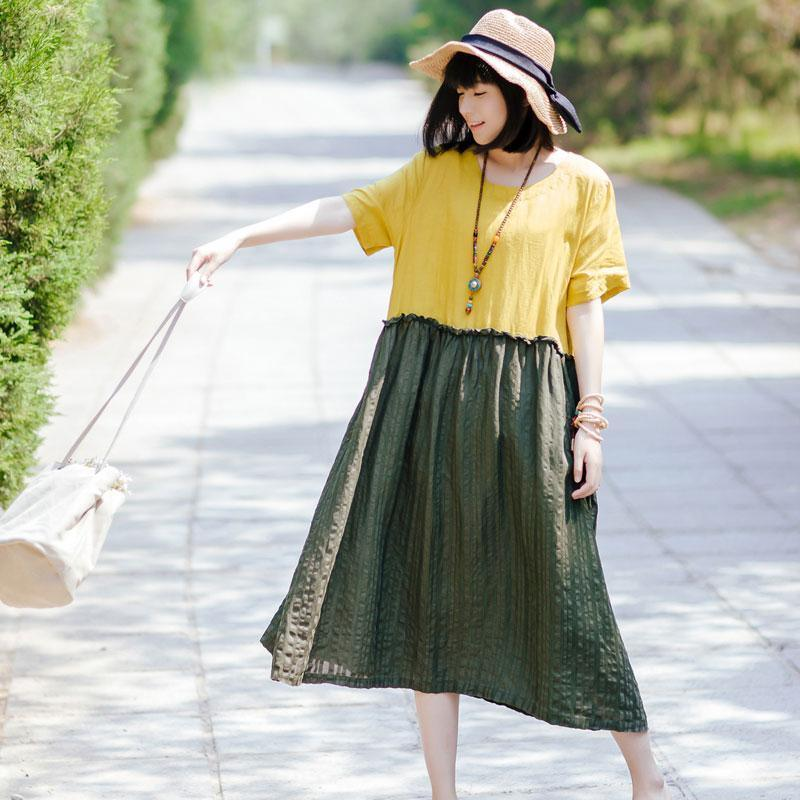 Summer Women Round Neck Short Sleeve Cotton Linen Pleated Dress