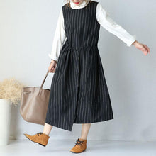 Load image into Gallery viewer, Large Size Round Neck Sleeveless Women Stripe Lacing Dress