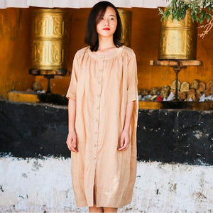 Round Neck Half Sleeve Women Single Breasted Ramie Shirt Dress