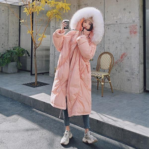 2020 New Fashion Loose Cotton Fur Collar Thick Coat