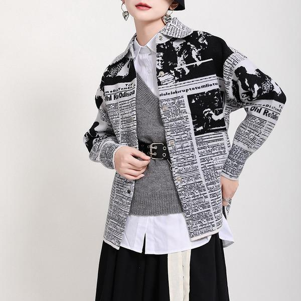 Letter Print Pattern Single Breasted Jacket