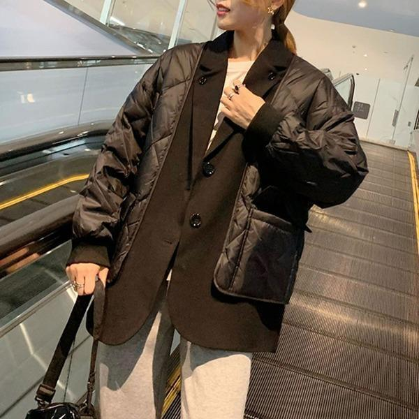 Patchwork Argyle Parkas Women Winter Casual Tide Fashion  Korean Style Notched Collar Long Sleeve Pocket Coat