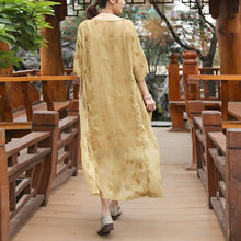 Laden Sie das Bild in den Galerie-Viewer, Embroidery Round Neck Half Sleeve Casual Yellow Dress
