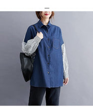 Load image into Gallery viewer, omychic plus size denim cotton vintage stripe korean style Casual loose autumn shirt women blouse 2020 clothes ladies tops