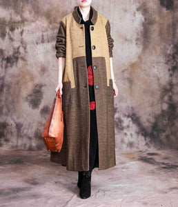 Omychic Winter Fashion Stand Collar Patchwork Long Coat Ladies