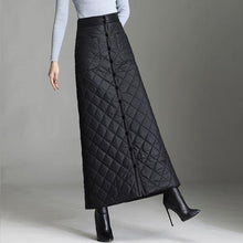 Load image into Gallery viewer, black down cotton plus size vintage high waist autumn winter casual loose maxi long for woman skirts womens 2020 skirt clothes