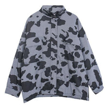 Load image into Gallery viewer, Contrast Color Print Women Jacket Casual Loose Stand Collar Keep Warm Trendy Jacket Coat