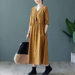 Women Cotton Linen Casual Dress V-neck Loose Ladies Elegant A-line Long Dresses