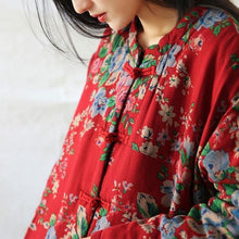 Load image into Gallery viewer, Women Vintage Print Floral Parkas Red Stand Long Sleeve Winter Coats  Warm Parkas Coats
