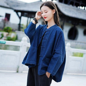 Women Autumn Winter Fashion Stand Plate Buckle Denim Coat