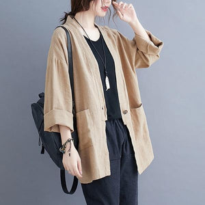 2020 Autumn Vintage Solid Color Loose Comfortable Female Outerwer Coats