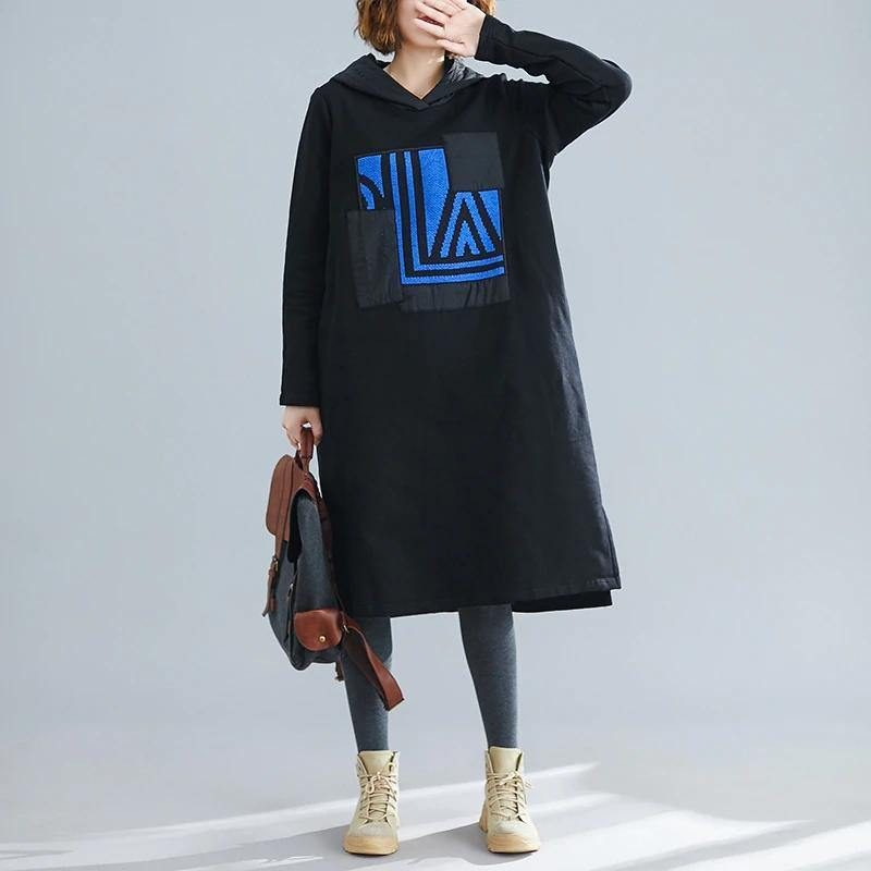 long sleeve plus size cotton vintage for women casual loose autumn winter sweatshirt dress