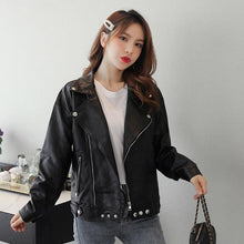 Laden Sie das Bild in den Galerie-Viewer, plus size oversize black PU Faux Leather Jackets women casual Loose autumn Zipper Wild Motor Biker Jacket 2020 Clothes Coat