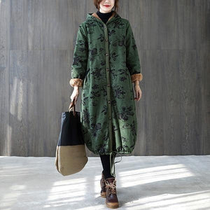 plus size hooded Cotton vintage floral casual long loose autumn winter jacket clothes