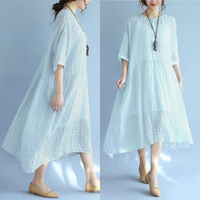 Load image into Gallery viewer, Folded Women Loose Casual Summer Plain Short Sleeves Blue Dress